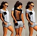 2016 Новые Сексуальные Женщины личность Выдалбливают Вернуться Дамы Летние Наборы Горячие Продажа Лоскутная Bodycon 2 ШТ. Повседневная рубашка + шорты