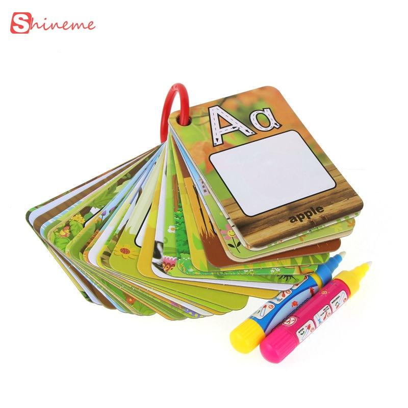 Mokomieji žaislai vaikams anglų kalbos mokymosi kortelė magija vandens piešimo žaislai knyga su 2 magija rašikliu lenta vaikas matematikos žaislai