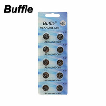 10pcs/lot New Buffle AG13 LR44 LR1154 SR44 Button Coin Cell 1.5V Alkaline Battery For Toys Watches