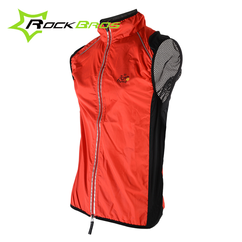 Rockbros TOUR DE FRANCE Sportswear Women's Cycling Vest Cycle Windcoat Bicycle Breathable Reflective Bike Sleeveless 4 Colors