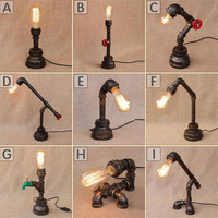 Retro Coffee Shop water pipe Vintage Desk Lamp Bedroom Bar Table Light Desk Light for reading study lamp lighting fixture