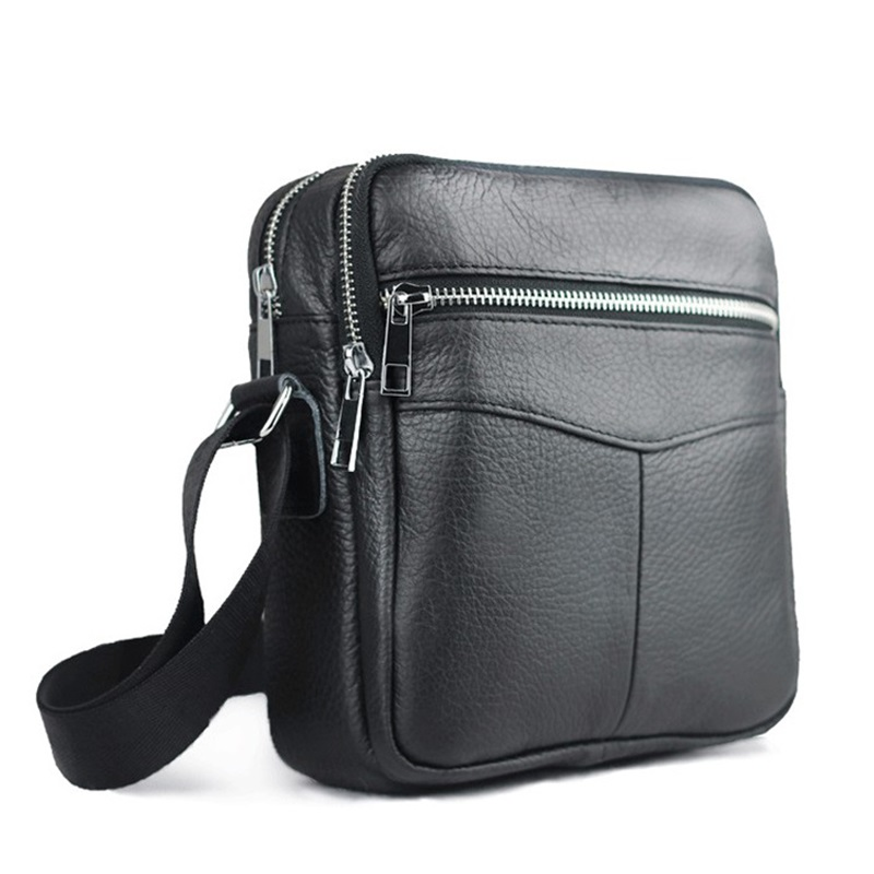a2582c270889 New High quality genuine leather men bag small messenger bags fashion brand  design men s shoulder bag black