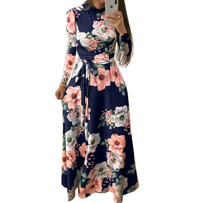 Fashion Women 39 s Elegant Dress Autumn and Winter High Collar Long sleeved Printed Tie Large Swing Long Dresses Women 39 s Clothing in Dresses from Women 39 s Clothing
