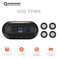 G50 Solar Powered TPMS Car Tire Pressure Monitor System 4 External Sensors Real-time Detection 0 - 8 Bar High Low Pressure Alarm