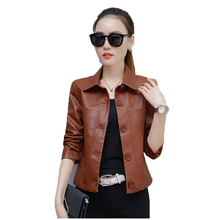 Faux leather coat women 2019 spring and autumn new Korean version M-4XL casual PU black fashion faux jacket JD400
