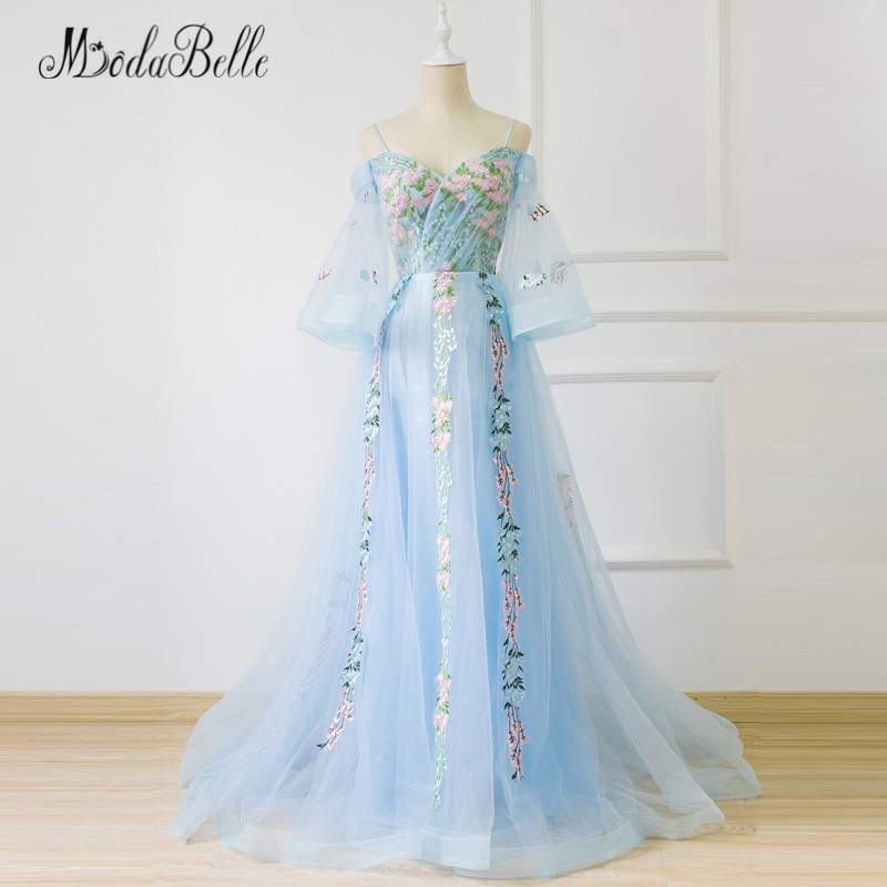 modabelle 2018 Light Blue Floral Flower   Prom     Dress   Sleeves See Through Tulle Vestido De Gala   Prom   Gowns Long Evening Party   Dress