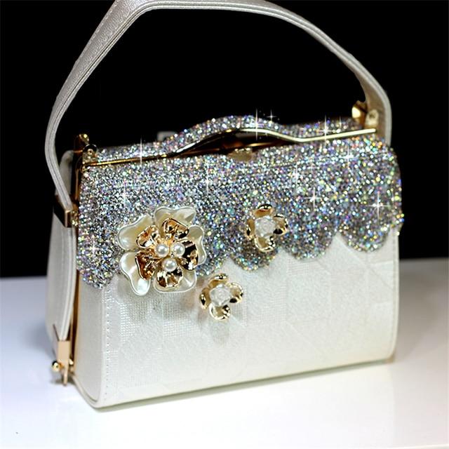 Women Crystal Totes Luxury Handbag Flowers Shoulder Bags Bridal Wedding Chain Bag Genuine Leather Rhinestones Evening Party Bags