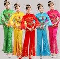 Китайские вышитые блестками народного танца костюмы вентилятор платок барабан yangko танец одежды красный \ синий национального танца
