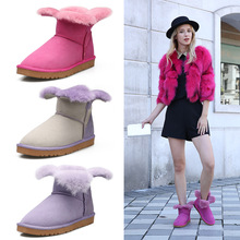 Fresh and unique four-leaf clover petals open design women snow boots candy color Sheepskin with wool winter womens shoes
