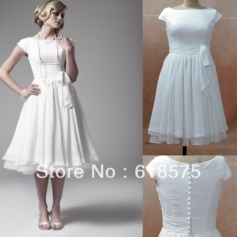 Buy destination wedding dresses vintage for Retro tea length wedding dresses