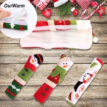 OurWarm Christmas Gift 3Pcs Snowman Handle Cover for Refrigerator Home Decoration Accessories Microwave Oven Door Gloves