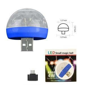 Image 5 - Mini usb led festa noite luz cor mudou por som música mágica luzes cogumelo bola efeito mágico lâmpada luz de discoteca 2 plugues d #3
