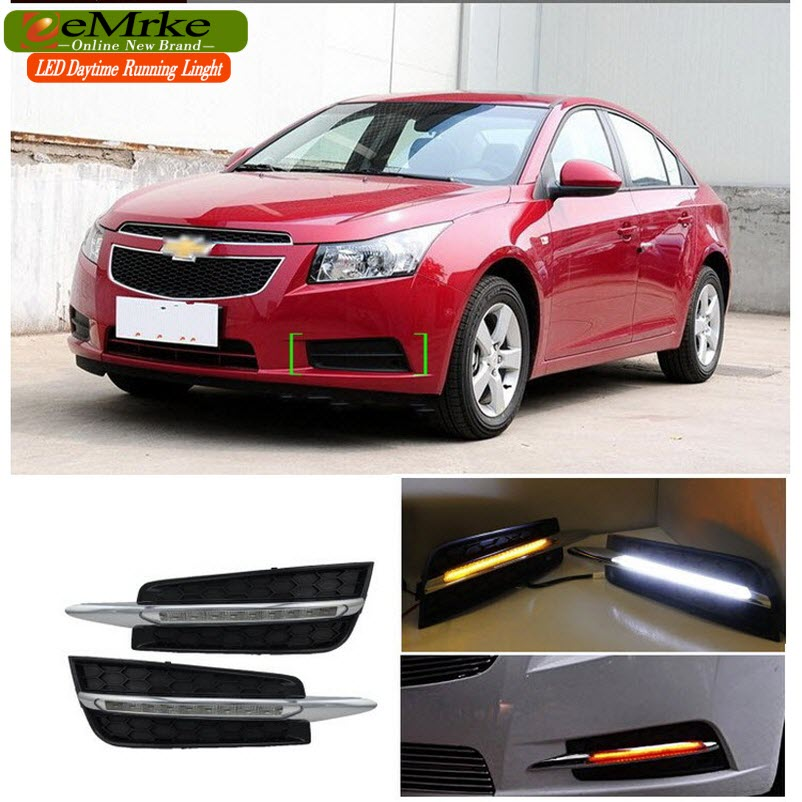 eeMrke Car LED DRL For Chevrolet Cruze J300 Yellow Turn Signal High Power Xenon White Fog Cover Daytime Running Lights Kits  недорого