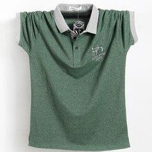Мужская хлопковая рубашка поло, Повседневная Однотонная рубашка поло в полоску, размера плюс 5XL