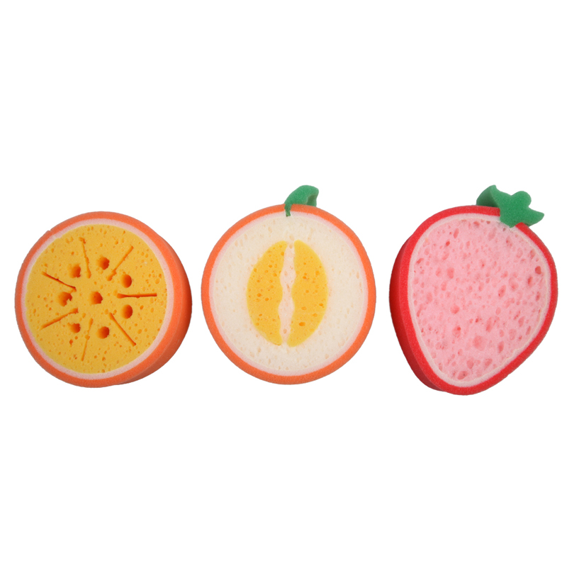 2016 Creative 3PCS Lovely Kitchen Tool Fruit Dish Super Washing Cleaning Cloth Gadget Sponge Scouring Home kitchen supplies