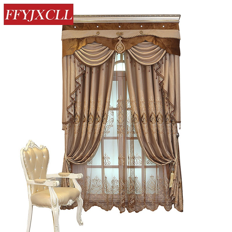 Brown Color Europe Curtains Cloth For living Room Bedroom Window Geometric Embroidered Curtains Fabrics Drapes Decoration window valance