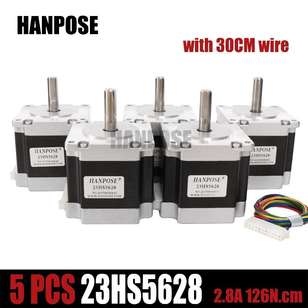5 PCS 23HS5628 4-plomb Nema 23 Moteur pas à pas 57 moteur NEMA23 Moteur pas à pas 2.8A ISO CNC Laser Grind Mousse Plasma Cut
