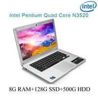 """עבור לבחור 8G RAM 128g SSD 500G HDD Intel Pentium N3520 14"""" מקלדת מחברת מחשב נייד ושפה OS זמין כסף P1-07 עבור לבחור (1)"""