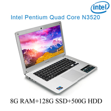 """P1-07 silver 8G RAM 128G SSD 500G HDD Intel Pentium N3520 14 laptop notebook keyboard and OS language available for choose"""""""