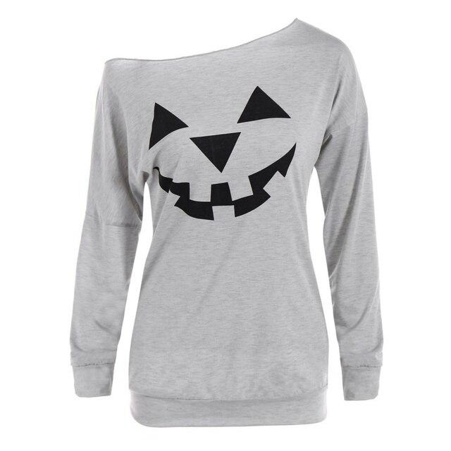 f9b5b94c Fashion Skew Collar Longsleeve T-shirts Womens Halloween Pumpkin Printed T- shirt Lady Girls Long Sleeve Clothing