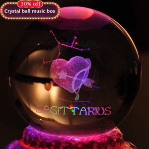 12 Constellation Rotating Crystal Ball Music Box LED Light Musical Boxes for Princess Love Girl Valentine's Day Gift