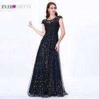 Prom Dresses Long 2019 Ever Pretty EZ07650 Women's Elegant Navy Blue Sleeveless Lace Appliques Embroidery Tulle Vestido Formatur