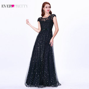 Image 1 - Prom Dresses Long 2020 Ever Pretty EZ07650 Womens Elegant Navy Blue Sleeveless Lace Appliques Embroidery Tulle Vestido Formatur