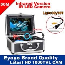 """Eyoyo Oryginalny 50 M Profesjonalne Fish Finder Podwodne Połowy Kamery Wideo 7 """"Kolorowy Monitor HD 1000TVL HD CAM Światła ON/OFF"""