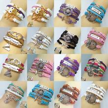 factory price wholesales, Vintage Owl  Multilayer Braided Bracelets  Stylish Charm Bracelet & Bangle