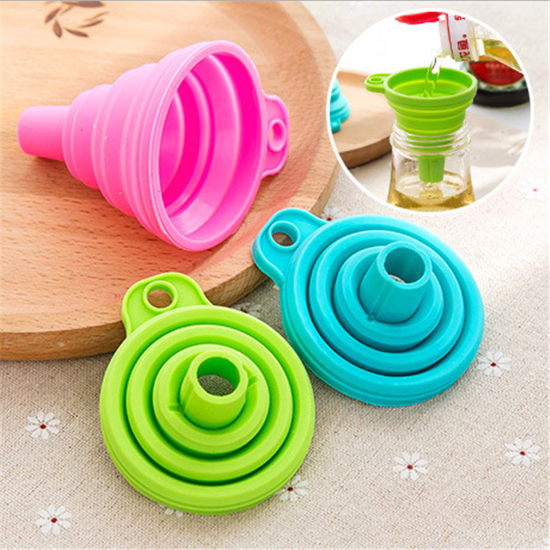 CHASANWAN 1pc Mini Silicone Gel Foldable Collapsible Style Funnel Hopper Kitchen Cooking Tools Kitchen Goods Kitchen Accessories