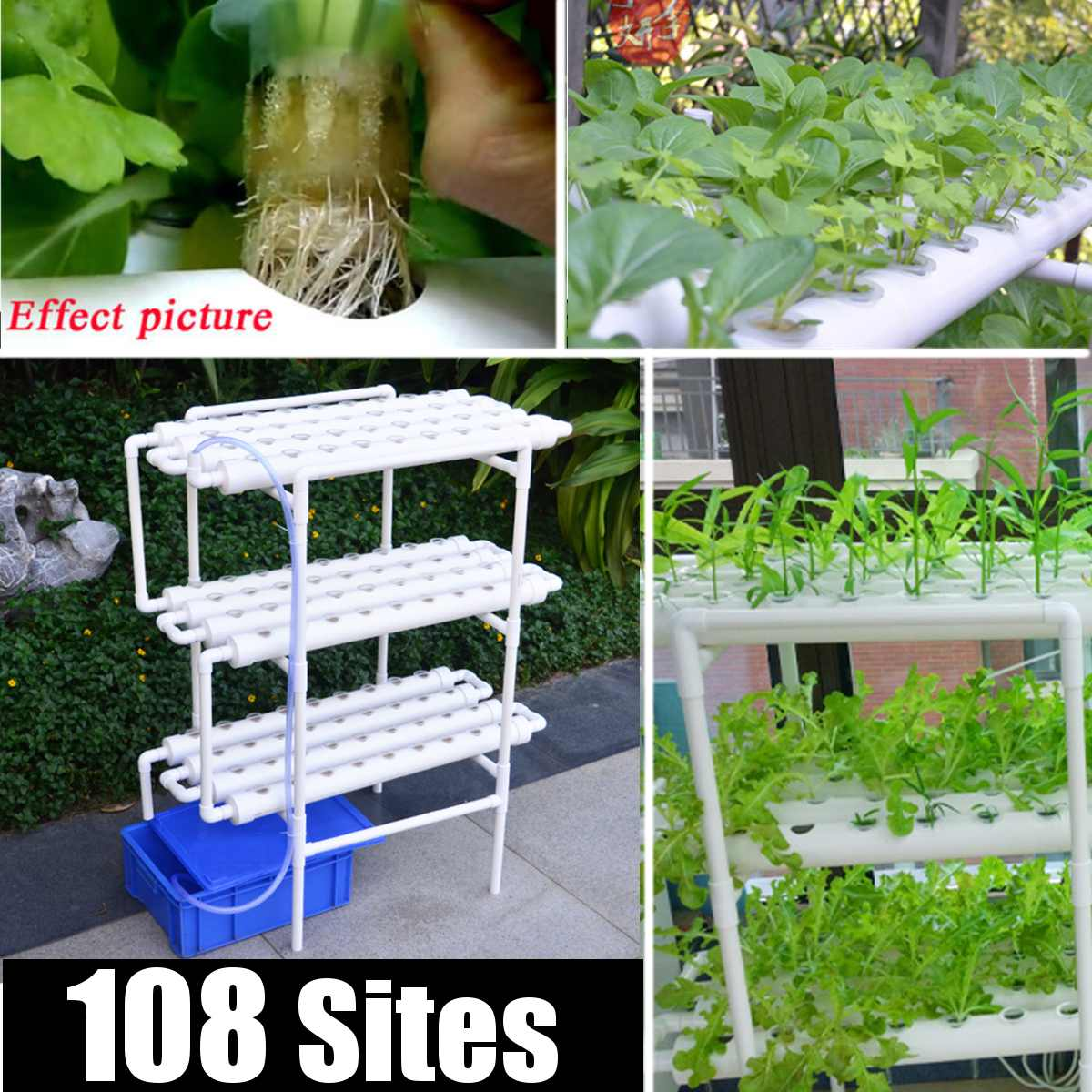 112pc/set 108 Hole Plant Hydroponic System Grow Kit Nursery Pots Anti Pest Soilless Cultivation Indoor Garden Culture Plant 220V