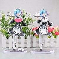 J Ghee 2 Design Anime 22cm Re: Zero Kara Hajimeru Isekai Seikatsu Ram / Rem Maid Ver. PVC Figure Collectible Model Toy