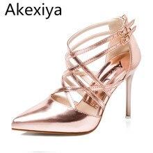 Akexiya Frauen Medium Rot Goldene Sexy Pumps Heels Lady Schuhe Mode Schwarz Spitz Dünne Hohe Silbrig Hochzeit Heel Sandalen