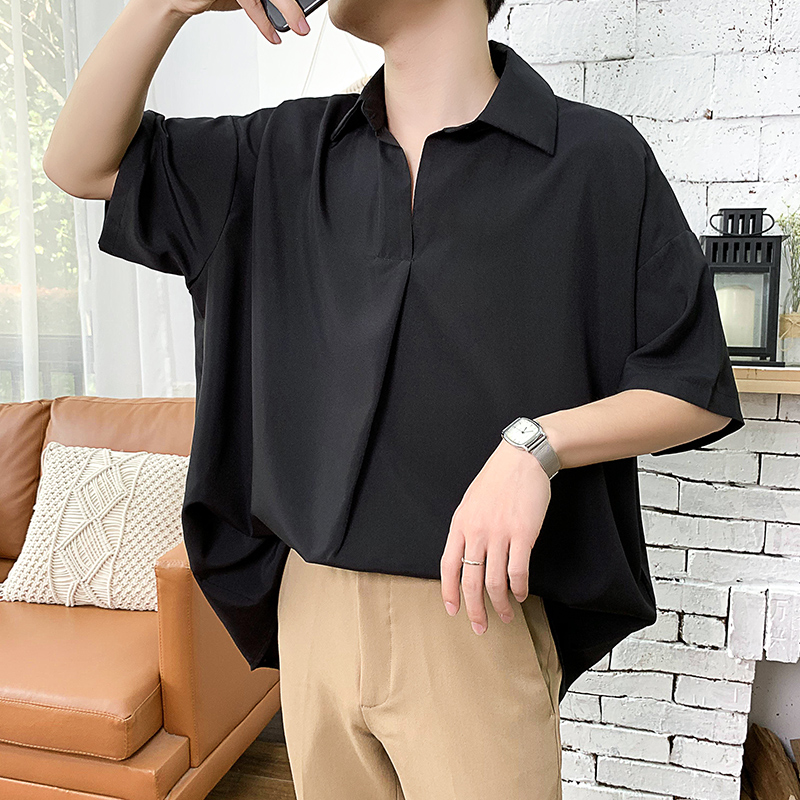 2019 Summer Men's New Pattern Short Sleeve Cool Shirt French Cuff Brand Clothing Fashion Loose Solid Color Shirts Big Size M-5XL