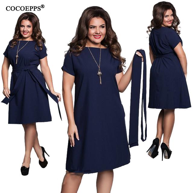 COCOEPPS Elegant Casual women blue dresses big sizes NEW 2017 plus size women clothing Summer style o-neck bodycon Chiffon Dress