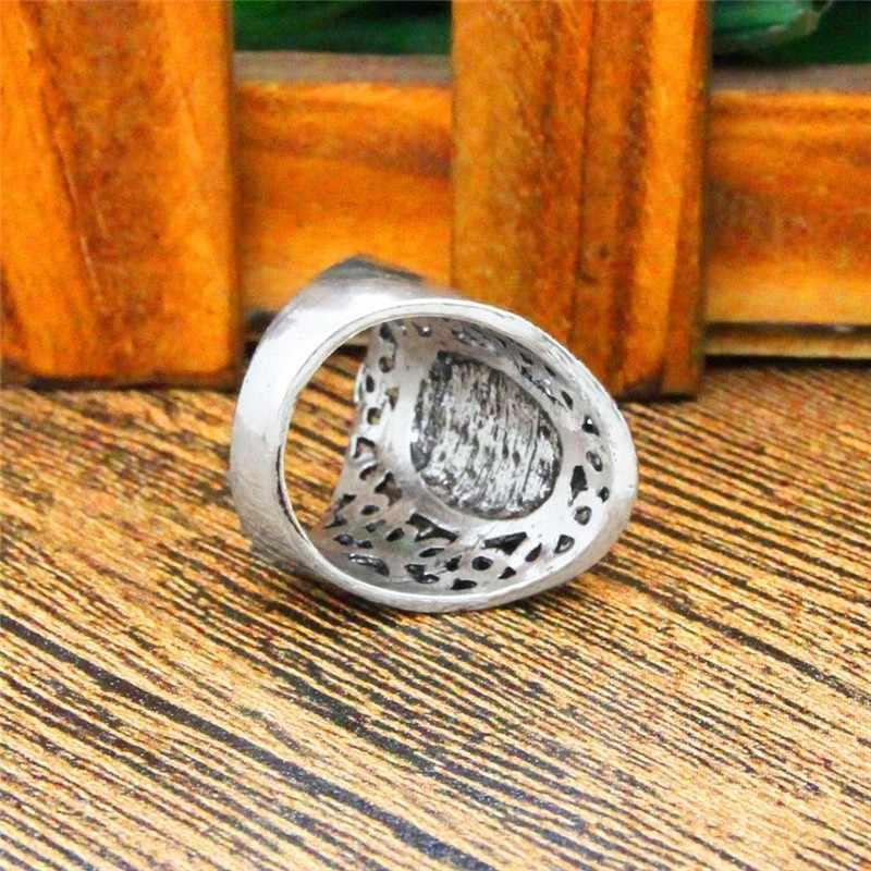 รูปไข่หินธรรมชาติแหวนผู้หญิงวินเทจออกแบบดอกไม้โบราณเงินชุบแฟชั่นเครื่องประดับ TR646