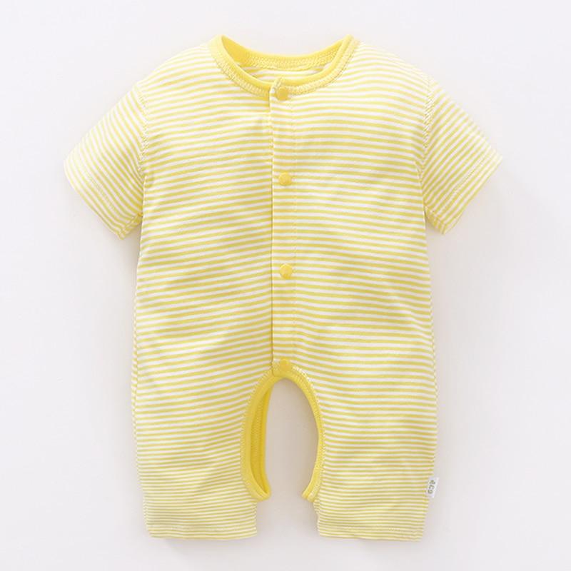 Newborn Baby Stripe Rompers Autumn Winter Short Sleeve Boy Girl 100% Cotton Sleep Play Clothes Newborns Baby Jumpsuits