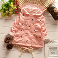 New Baby Jas Девушки Печати Пальто С Капюшоном 0-2 Лет Cappotto Bimbo Детская Одежда 7BBC024