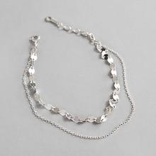 HFYK 925 Sterling Silver Bracelet 2019 Unique Tile Chain For Women Double Jewelry pulseira
