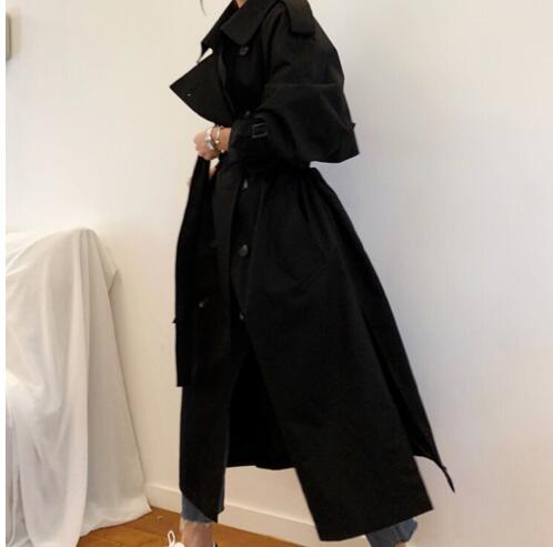 European British Runway Top Brand Black long   trench   coats Cool sexy oversized office lady wear overcoats am118