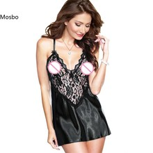 2016 Hot Sexy Lingerie Satin Lace Black Kimono Intimate Sleepwear Robe Sexy Night Gown font b