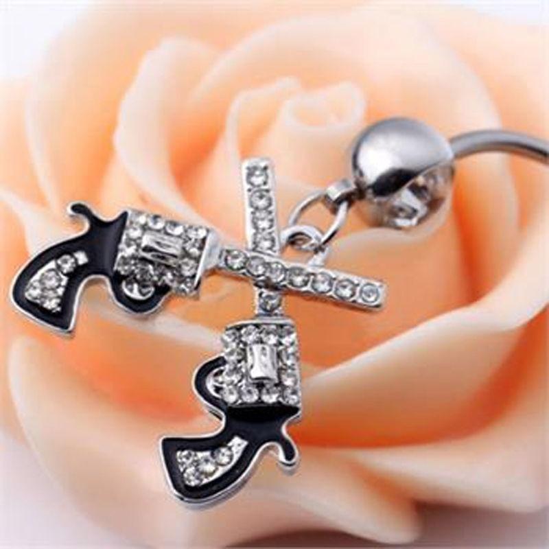 Cowgirl Revolver Pistol Gun Dangle Belly Button Navel Ring Body JewelryVE