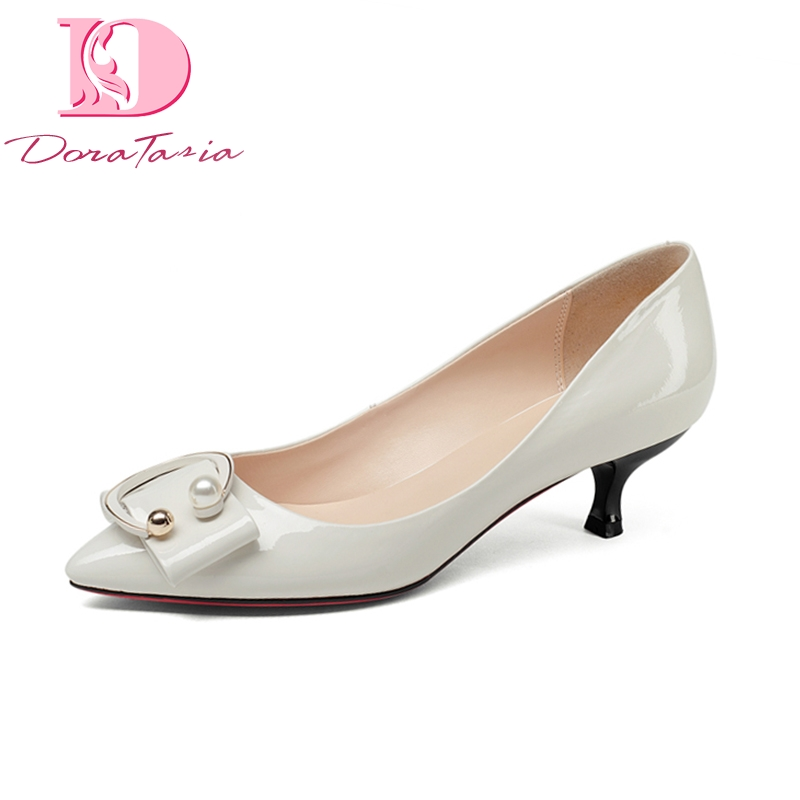 Doratasia Brand New Genuine Leather Thin Med Heels Solid Best Quality Shoes Woman Fashion Spring Pumps