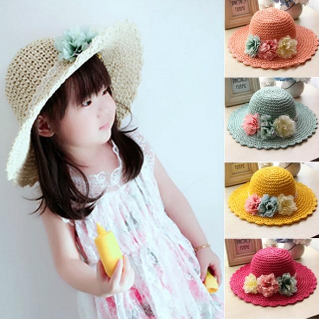 Nuevos niños niña protector solar sombrero de paja del verano playa  sombreros tejido hecho a mano 50122514fda