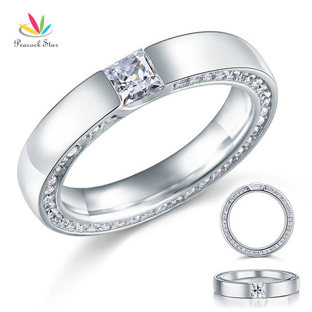 Peacock Star Princess Created Diamond Solid Sterling 925 Silver Wedding / Bridal Ring Band Jewelry CFR8074