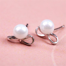 S925 Elegant Pearl Bow Stud Earrings For Lover Gift Silver Stud Earrings Fashion Jewelry for Women