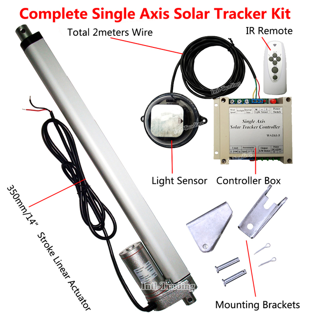"Solar Tracking Tracker Single Axis Complete System Kits &1500N 350mm/14"" Stroke 12V DC Linear Actuator &Controller &Light Sensor"