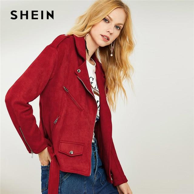 fbc9c29712 SHEIN Burgundy Belted Hem Suede Biker Jacket Casual Streetwear Plain Pocket  Notched Zipper Jackets Coat Women Autumn Jackets