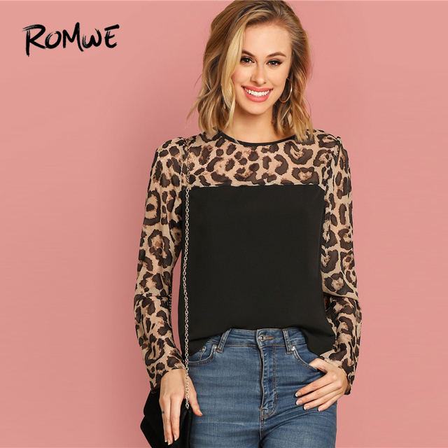 88cc9e65 ROMWE Semi Sheer Leopard Yoke Top 2019 Women Casual Black Cool Fashion  Spring Autumn Long Sleeve Round Neck Spliced Blouse