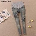 Gourd doll Материнство беременность джинсы материнства жан узкие брюки для беременных женщин высокой талией джинсы беременных одежда